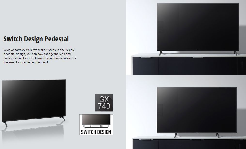 Wide or narrow? With two distinct styles in one flexible pedestal design, you can now change the look and configuration of your TV to match your room's interior or the size of your entertainment unit.