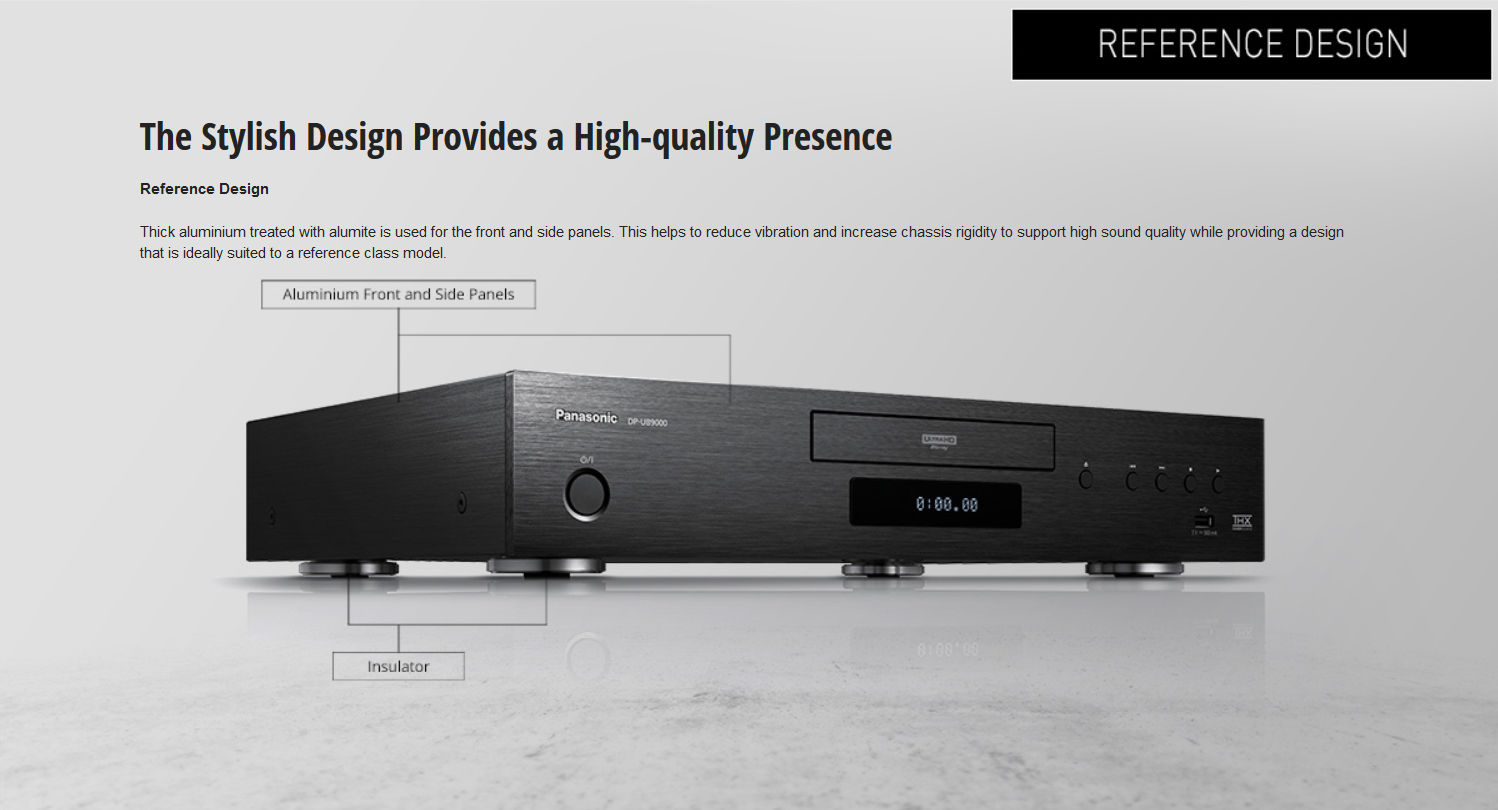 Reference Design. Thick aluminum treated with Alumite is used for the front and side panels. This helps to reduce vibration and increase chassis rigidity to support high sound quality while providing a design that is ideally suited to a reference class model.